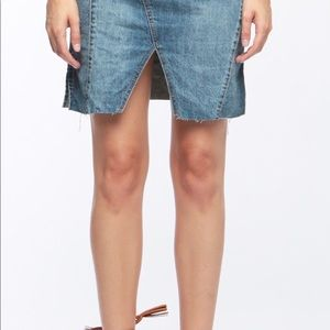 Khaki Denim Skirt with pockets